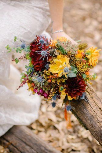 fall wedding bouquets wildflowers with dahlias thistles yellow burgundy brittrene photography