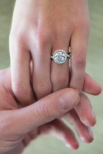halo round white gold engagement ring