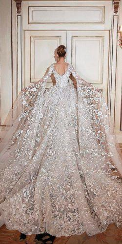 lace low back with long sleeves and train ball gown wedding dresses sadekmajedcouture