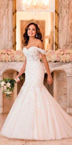 mermaid off the shoulder lace sweetheart neck stella york wedding dresses