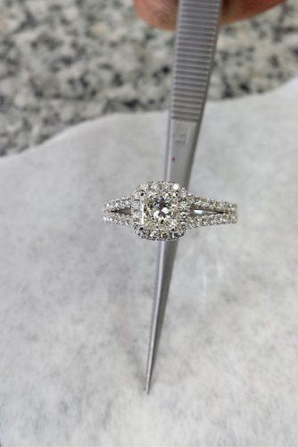 princess brilliant cut diamond halo engagement ring in white gold