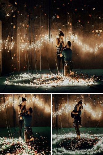 romantic marriage proposal with stunning lighting