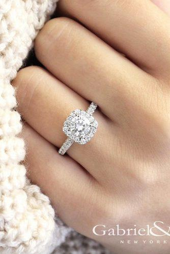 round cut halo white gold engagement rings by gabriel and co