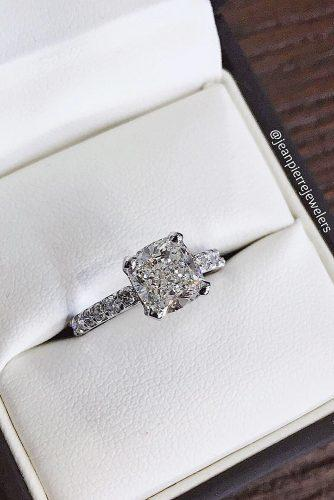 white gold simple cushion cut engagement rings