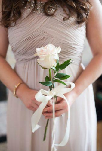 single bloom wedding bouquets single white rose Ian Riley
