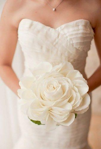 single bloom wedding bouquets white big rose Scott Andrew Studio