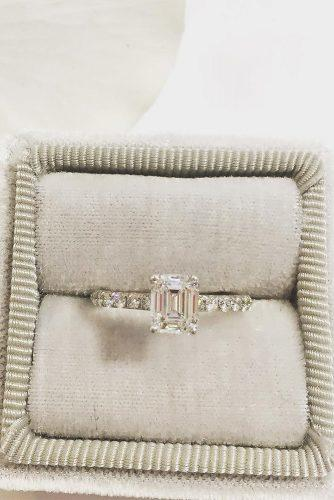 solitaire diamond emerald cut engagement rings white gold