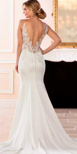 stella york wedding dresses low back lace trumpet spaghetti straps sleeveless