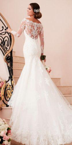 stella york wedding dresses mermaid lace long sleeves backless open shoulders