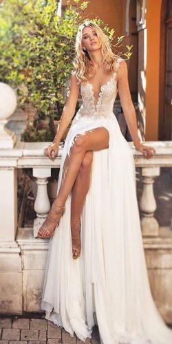 straight v neck spaghetti straps with high slit beach wedding dresses dimitrius dalia