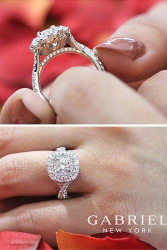 twist diamond white gold halo engagement rings by gabriel and co