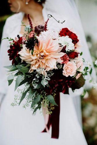 wedding bouquet ideas inspiration with rose gold dahlia and marsala flowers