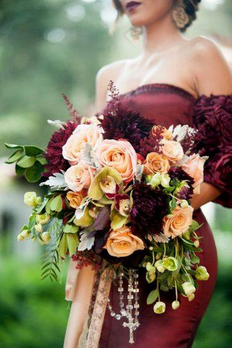wedding bouquet ideas inspiration with rose gold roses and marsala dahlias and greenery