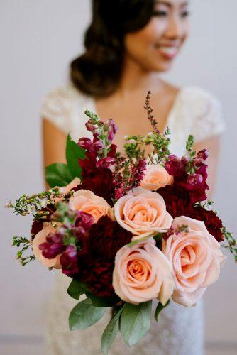 wedding bouquet ideas inspiration with rose gold roses and marsala flowers