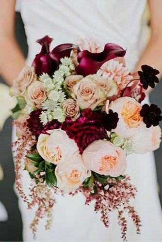 wedding bouquet ideas inspiration with soft pink and rose gold flowers and marsala peonies
