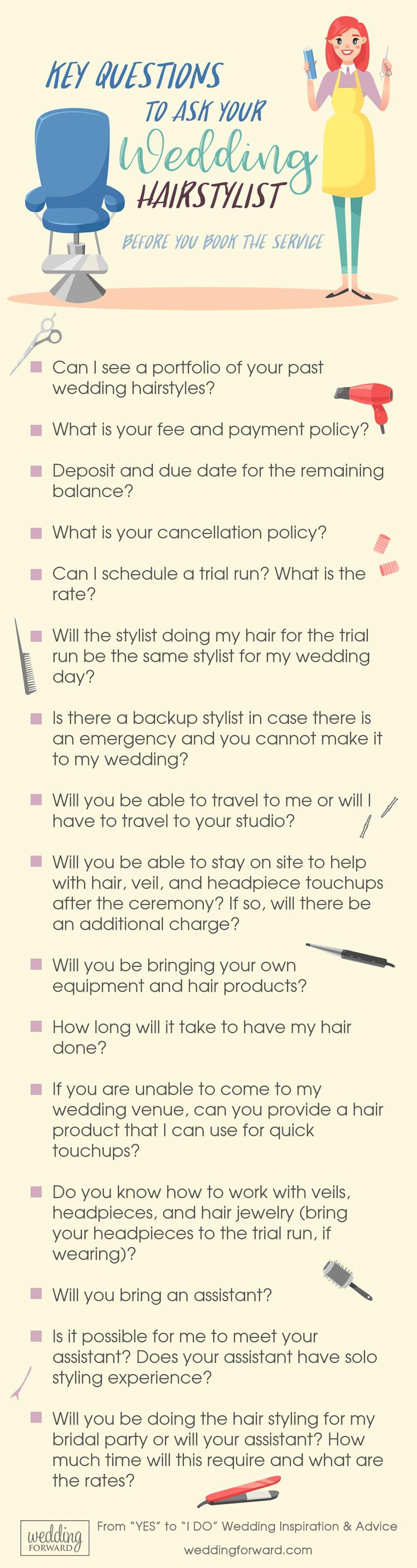 wedding planning infographics key questions to ask your wedding hairstylist