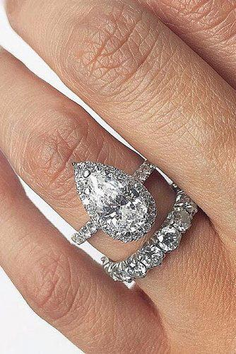 white gold engagement rings pears halo jeanpierrejewelers via instagram