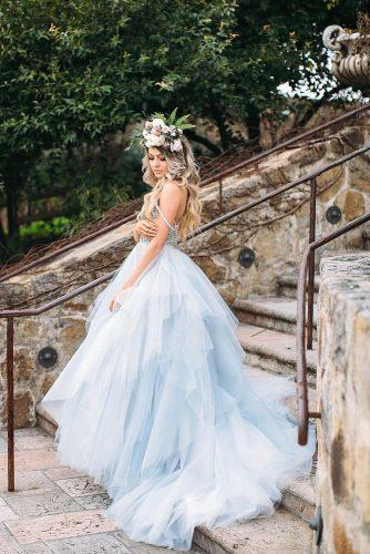 blue wedding theme bride in blue wedding gown