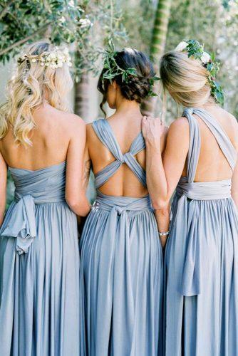blue wedding theme bridesmaids in blue dresses
