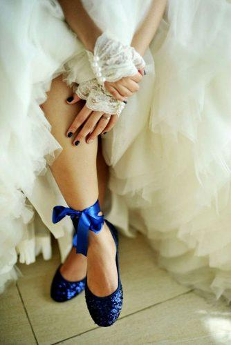 blue wedding theme comfortable bridal shoes