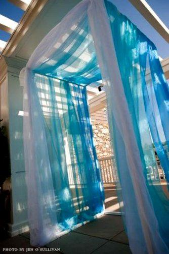 blue wedding theme different blue tulle entrances decor
