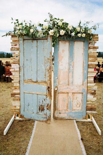 blue wedding theme doors with flowers green door photography