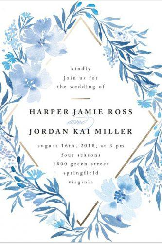 blue wedding theme wedding invitation with white background minted