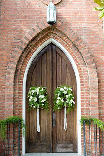 church wedding decorations church door with the flowers gresham photography