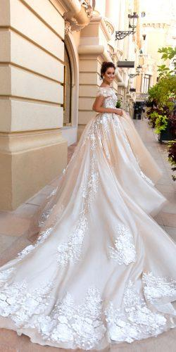 crystal design 2017 collection sheath ballgown ivory wedding dresses with lace on skirt and traine amilia