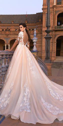 crystal design 2017 wedding dresses collection a line ivory wedding gown with low back and lace handmade decor on the top and skirt with sleeves gemma