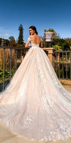 crystal design 2017 wedding dresses collection ballgown lace bridal gown off the shoulders and open back design nora