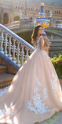 crystal design 2017 wedding dresses collection ivory ballgown dress with white lace on top and skirt jill