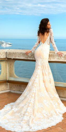 crystal design 2017 wedding dresses collection lace mermaid bridal gown with open back and traine long lace sleeve rian