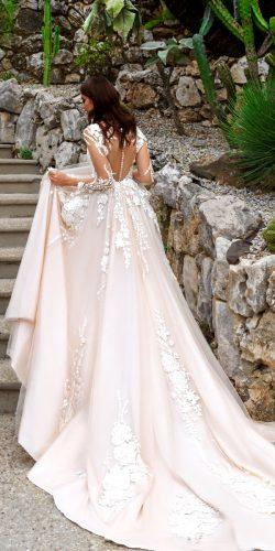 crystal design 2017 wedding dresses collection satin and mesh a line wedding dress with lace flowers low back sleeves aniya