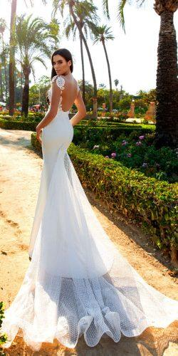 crystal design 2017 wedding dresses collection satin mermaid open back bridal gown with mesh and lace top elle