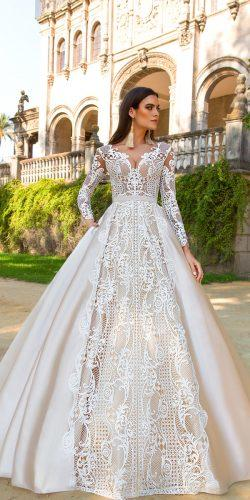 crystal design 2017 wedding dresses collection sheath bridal gowns with lace long sleeve v neck ohara
