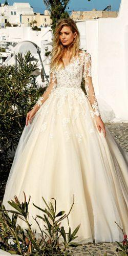 floral appliqués long sleeves ball gown wedding dresses by eva lendel