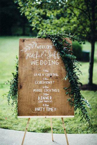 greenery decor wedding signs