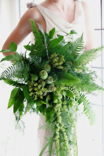 greenery wedding cascading no flower bouquet