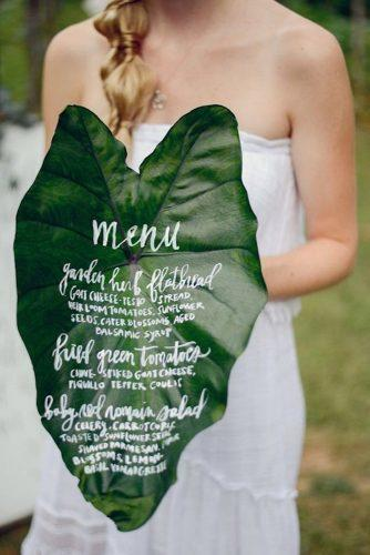 greenery wedding herb menu idea
