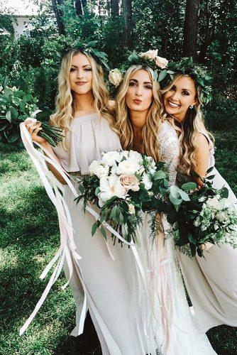 greenery wedding ideas bride and bridesmaid with bouquets