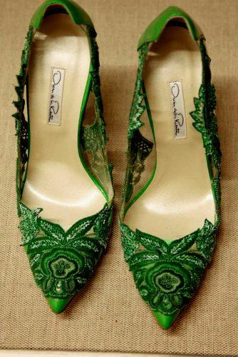 greenery wedding lace shoes