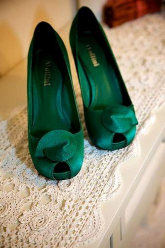 greenery wedding satin shoes