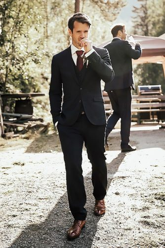 groom suits black jackets pants with red tie lieben