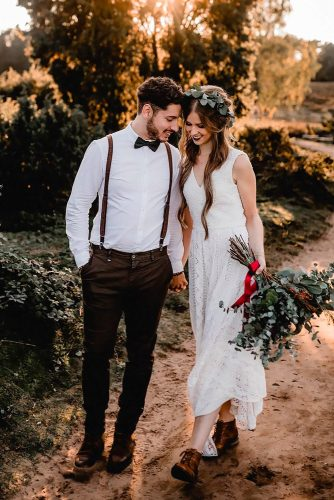 groom suits rustic attire with bowtie and suspenders kathiundchris