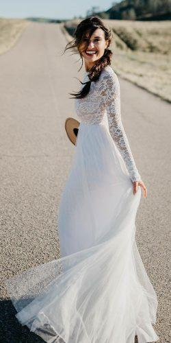 lace long sleeves rustic wedding dresses