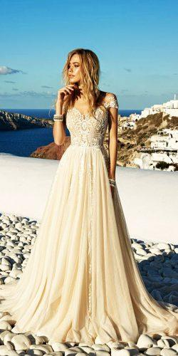 lace sweetheart wedding dresses with short sleeves ivory color by eva lendel
