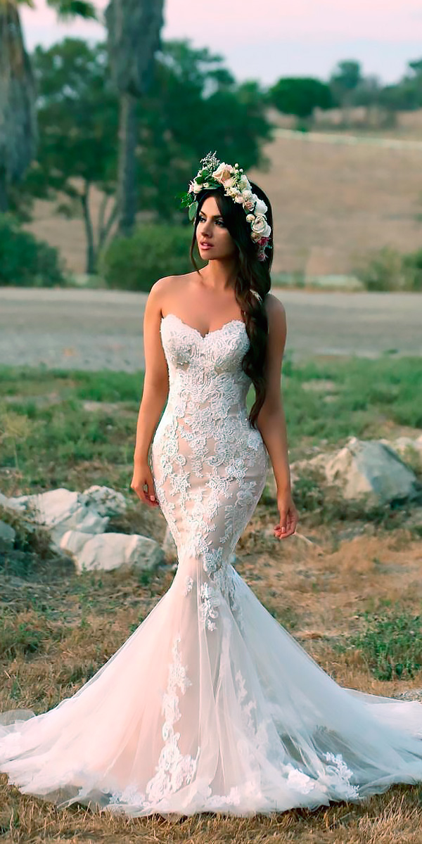 mermaid wedding dresses glamorous strapless sweetheart lace blush glamorous enzoani