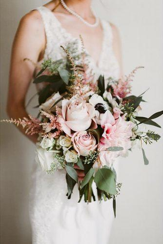 pink wedding bouquets with astilbe dahlia roses and greens orangerie floral via instagram