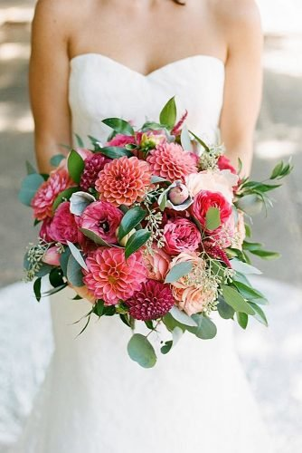 wedding bouquet ideas dahlia colorful bridal bouquet